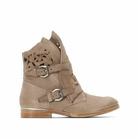 Nilas Leather Western Boots with Buckles