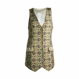 relax baby be cool - Womens Long Smoking Vest With Pearl Embroidery