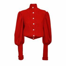 JIRI KALFAR - Red Herringbone Knit Wool Cardigan