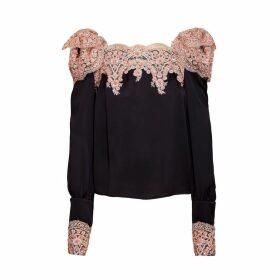 JIRI KALFAR - Black Silk Top With Dusty Pink Embroidery Applique