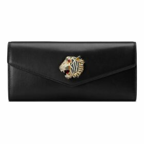 Broadway leather clutch with tiger