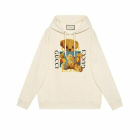 Oversize sweatshirt with Gucci logo and teddy bear