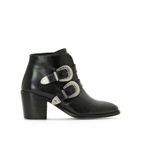 Vivian Leather Western Ankle Boots with Buckle and Block Heel