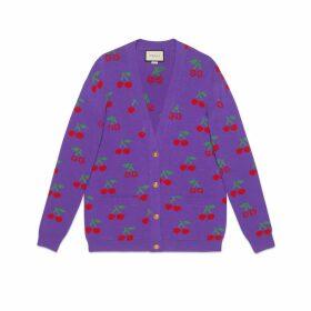 GG cherry jacquard wool knit cardigan