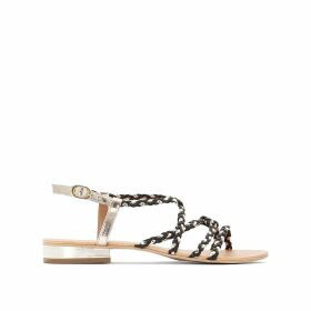 Wide Fit Cross-Strap Leather Flat Sandals
