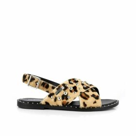 Dolly Leather Textured Leopard Print Sandals with Beading
