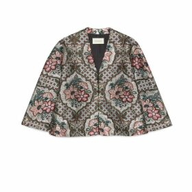 Geometric floral jacquard cape