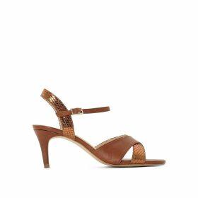 Leather Sequined Strap Stiletto Heel Sandals
