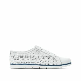 Perforated Leather Low Top Trainers