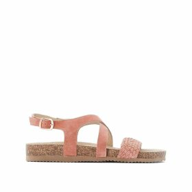 Suede Cross-Strap Chunky Flat Sandals
