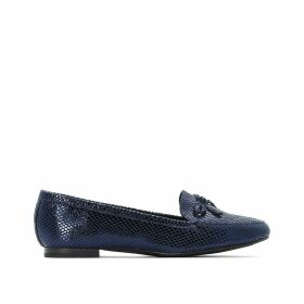 Patent Leather Snakeskin Effect Loafers with Bow