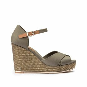 Canvas Wedge Heel Sandals with Beading