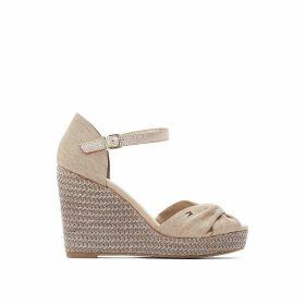 Linen Espadrille Sandals with Wedge Heel
