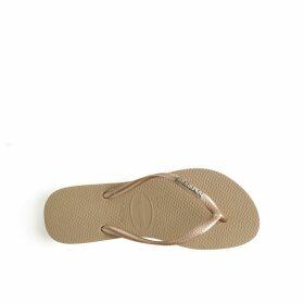 Slim Logo Metallic Flip Flops