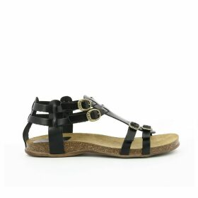 Ana Leather Flat Sandals with Buckle