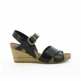 Salambo Leather Wedge Heel Sandals with Cross-Strap