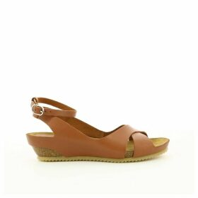 Toki Leather Wedge Heel Sandals with Cross-Strap