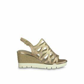 Jette Metallic Espadrille Sandals with Wedge Heel
