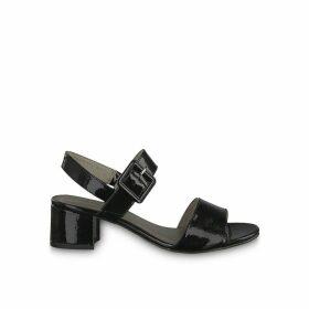 Koli Patent Sling-Back Sandals with Block Heel
