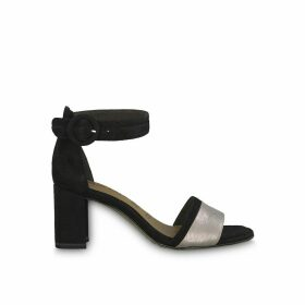 Dalina Suede Heeled Sandals with Metallic Strap