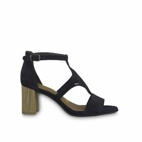 Dalina Suede Heeled Sandals with Ankle Strap