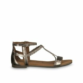 Kim Metallic Leather Flat Sandals with Braided Strap