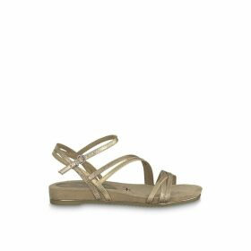 Locust Metallic Sandals with Cross-Strap