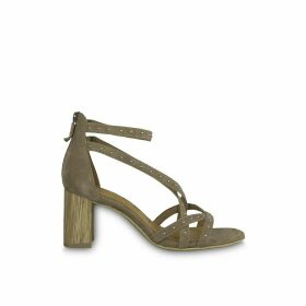 Dalina Suede Studded Sandals with Block Heel