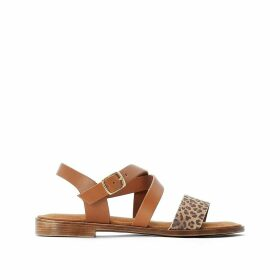 Sera Leather Flat Sandals with Leopard Print Strap