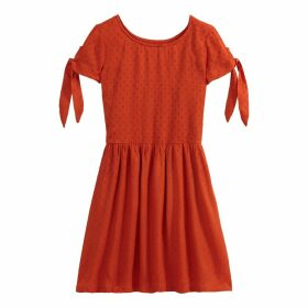 Embroidered Tied-Sleeve Dress