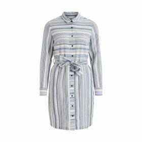 Striped Cotton Shirt Dress with Tie-Waist