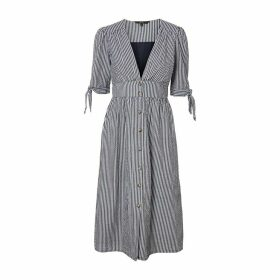Striped Cotton Midi Dress with Buttons and Tied-Sleeves