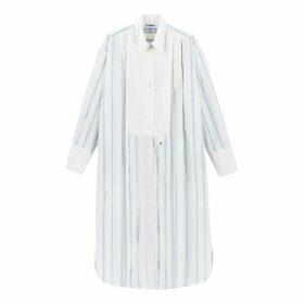 Striped Cotton Tunic Shirt Dress with Pleats