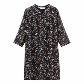 Bird Print Shift Dress with Ruffles