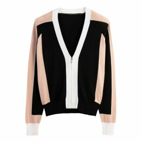 Colour Block Zip-Up Cardigan