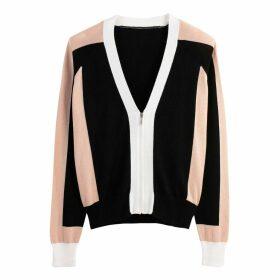 Colour Block Zip-Up Cardigan