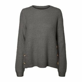 Ribbed Crew Neck Jumper with Side Buttons