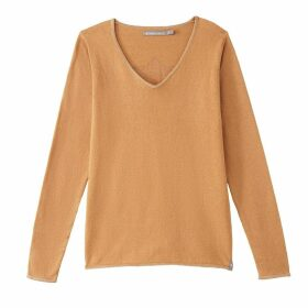 Metallic Cotton/Cashmere V-Neck Jumper with Freeman Logo on Back