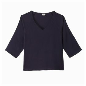 V-Neck Blouse with Shoulder Buttons and 3/4 Length Sleeves