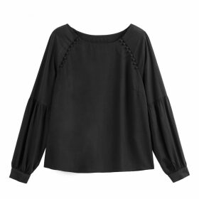 Puff Sleeved Round Neck Blouse with Buttons