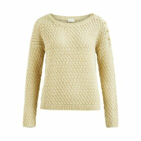 Crew Neck Openwork Jumper with Shoulder Button