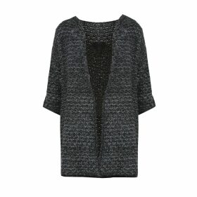Fine Gauge Knit Cardigan with Metallic Thread