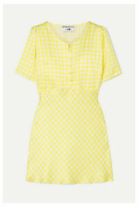 BERNADETTE - Florence Gingham Silk-satin Mini Dress - Yellow