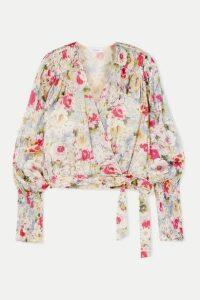 Art Dealer - Rosie Smocked Floral-print Satin Wrap Top - Pink