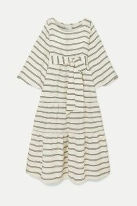 Lisa Marie Fernandez - Belted Tiered Striped Voile Maxi Dress - White