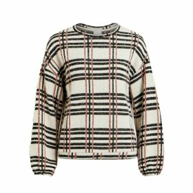 Long-Sleeved Checked Crew Neck Jumper