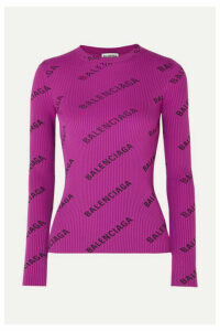 Balenciaga - Printed Ribbed-knit Top - Purple