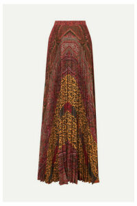 Etro - Printed Pleated Crepe De Chine Maxi Skirt - Burgundy