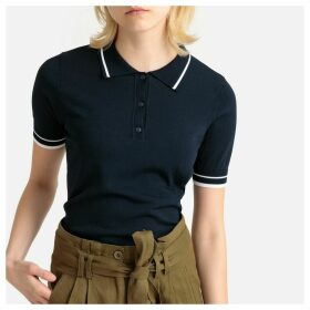 Fine Knit Jumper with Polo Collar