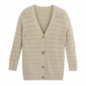 Chunky Knit Open Cardigan in Cotton Mix